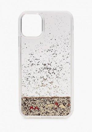 Чехол для iPhone Guess 11, Liquid glitter Floating hearts Gold. Цвет: прозрачный