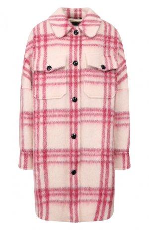 Пальто в клетку Woolrich. Цвет: розовый