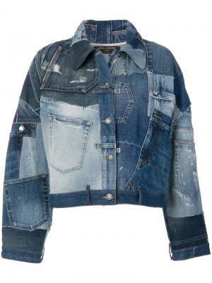 Джинсовая куртка в стиле печворк Dolce & Gabbana. Цвет: синий