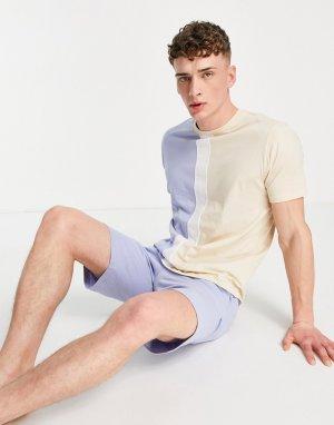 Домашний пижамный комплект с шортами и футболкой в стиле oversized со вставками -Голубой ASOS DESIGN