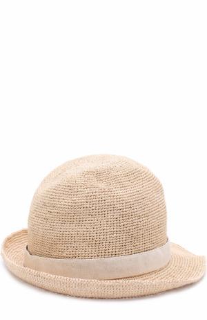 Пляжная шляпа из соломы с повязкой Heidi Klein. Цвет: бежевый