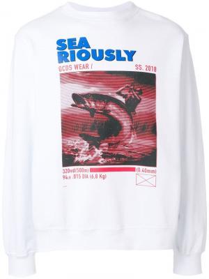 Пуловер с длинными рукавами и принтом Gcds. Цвет: белый