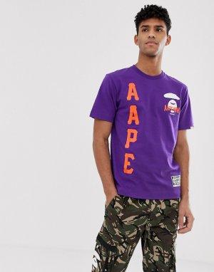 Фиолетовая футболка с большим логотипом AAPE By A Bathing Ape. Цвет: фиолетовый