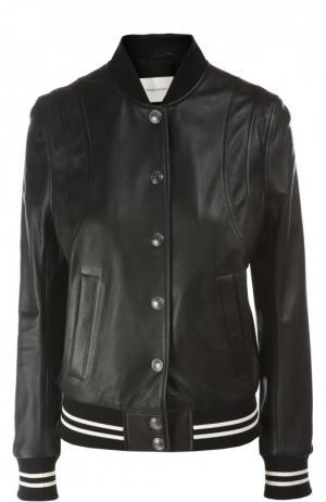 Кожаная куртка Pierre Balmain. Цвет: черный