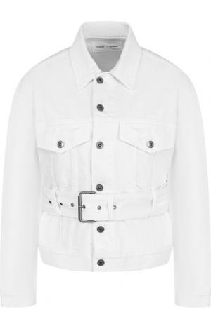 Джинсовая куртка с поясом и накладными карманами Proenza Schouler. Цвет: белый