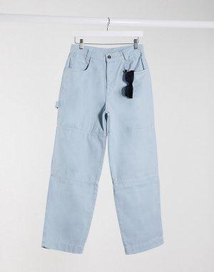 Свободные брюки в стиле милитари с вышитым логотипом на кармане -Голубой Kickers