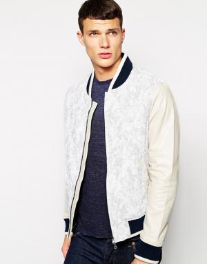 Клубная куртка с контрастными кожаными рукавами DKNY. Цвет: синий