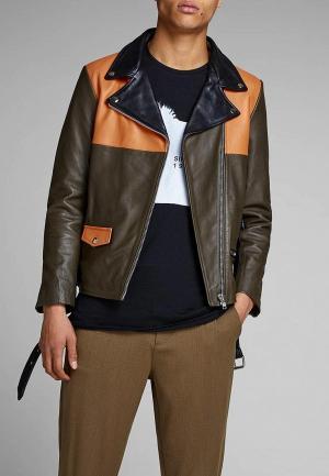 Куртка кожаная Jack & Jones. Цвет: хаки