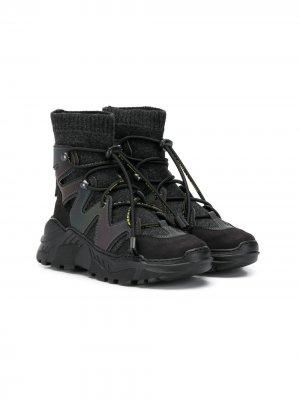 Высокие кроссовки на шнуровке Cinzia Araia Kids. Цвет: черный