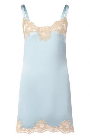 Сорочка из смеси шелка и хлопка Dolce & Gabbana. Цвет: синий
