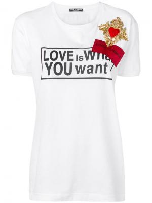Футболка Love is What You Want Dolce & Gabbana. Цвет: белый