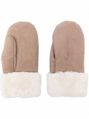 Перчатки-митенки с подкладкой из овечьей шерсти Parajumpers. Цвет: нейтральные цвета