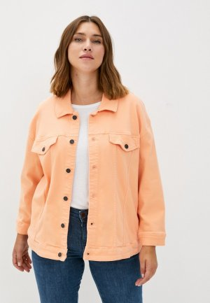 Куртка джинсовая Vero Moda Curve. Цвет: коралловый