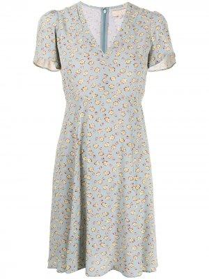Платье с V-образным вырезом и цветочным принтом byTiMo. Цвет: синий