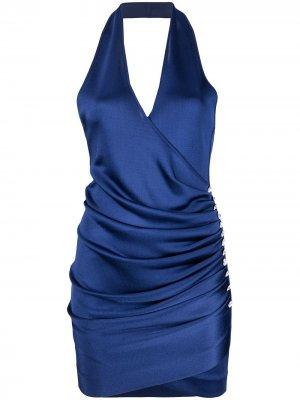 Платье Fidji V1 с кристаллами Azzaro. Цвет: синий