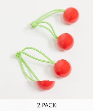 Набор из 2 резинок для волос с вишнями -Многоцветный ASOS DESIGN