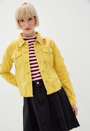 Куртка джинсовая B.Style. Цвет: желтый