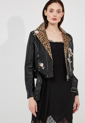 Куртка кожаная Twin-Set Simona Barbieri. Цвет: черный