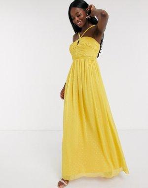 Плиссированное платье макси в золотистый горошек -Желтый Little Mistress