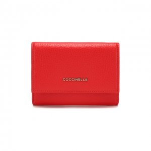 Кожаное портмоне Coccinelle. Цвет: красный