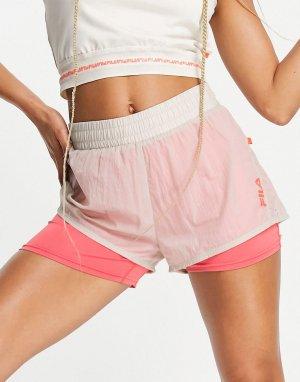 Спортивные шорты со вставкой с логотипом бежевого и розового цветов -Белый Fila