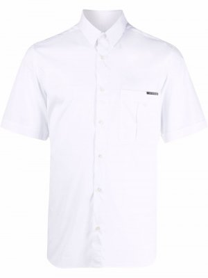 Рубашка с короткими рукавами и нашивкой-логотипом Les Hommes. Цвет: белый