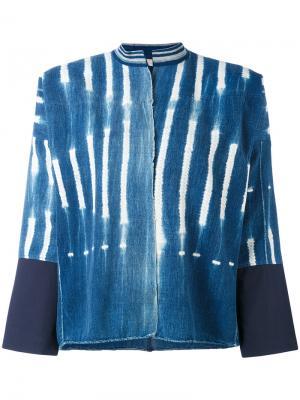 Джинсовая куртка с полосатым принтом Forte. Цвет: синий