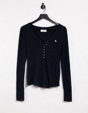 Черный уютный лонгслив-хенли -Черный цвет Abercrombie & Fitch