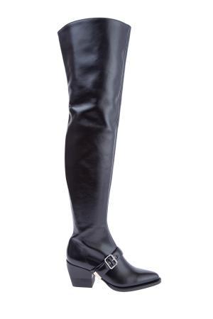 Ботфорты Rylee с ремешком и декоративной пряжкой в стиле рок-н-ролл CHLOE. Цвет: черный