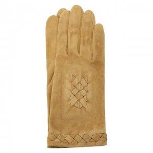 Замшевые перчатки Agnelle. Цвет: коричневый