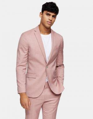 Розовый узкий пиджак с острыми лацканами Topman