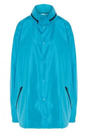 Бирюзовая ветровка оверсайз Balenciaga. Цвет: голубой