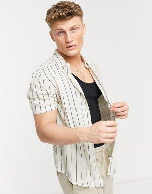 Бело-бежевая рубашка в полоску с короткими рукавами -Белый New Look