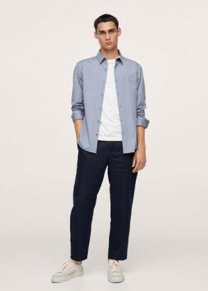 Костюмная рубашка slim fit из хлопка-стретч - Fabre Mango. Цвет: темно-синий