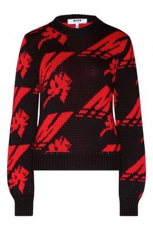 Черно-красный пуловер MSGM. Цвет: черный