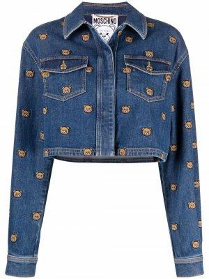 Джинсовая куртка с вышивкой Teddy Bear Moschino. Цвет: синий