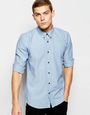 Рубашка из шамбре с длинными рукавами Junk De Luxe. Цвет: синий