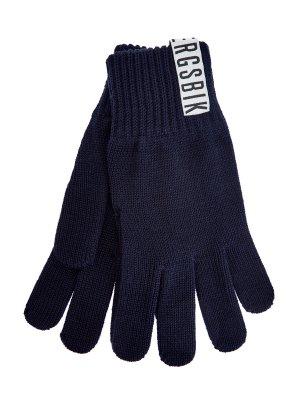 Вязаные перчатки с контрастным логотипом бренда BIKKEMBERGS. Цвет: синий