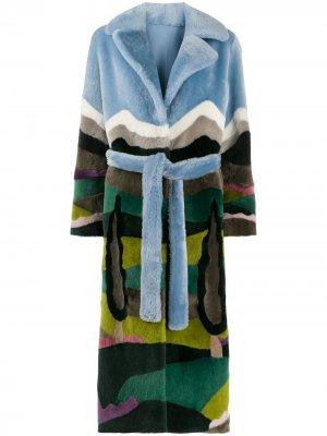 Пальто с поясом и принтом Liska. Цвет: синий