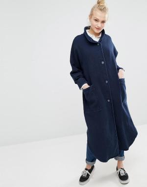 Джинсовая oversize-куртка Monki. Цвет: синий