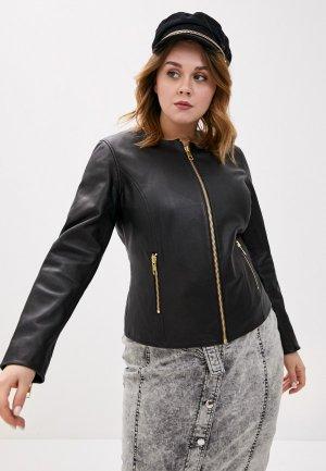 Куртка кожаная Marina Rinaldi Sport. Цвет: черный