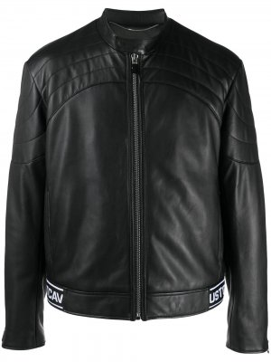 Байкерская куртка с логотипом на подоле Just Cavalli. Цвет: черный
