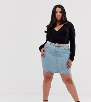 Джинсовая юбка с ремнем из стразов -Синий Liquor N Poker Plus