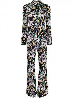 Комбинезон с длинными рукавами и цветочным принтом DVF Diane von Furstenberg. Цвет: черный