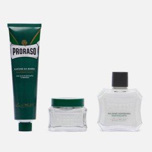 Набор для бритья Gino Vintage Selection Tin Green Range Proraso. Цвет: красный