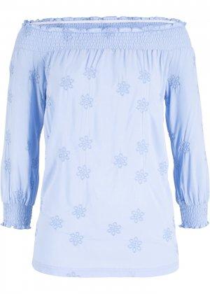 Блузка с широким вырезом и сдержанной вышивкой bonprix. Цвет: синий