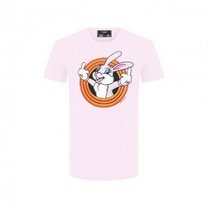 Хлопковая футболка Dom Rebel. Цвет: розовый