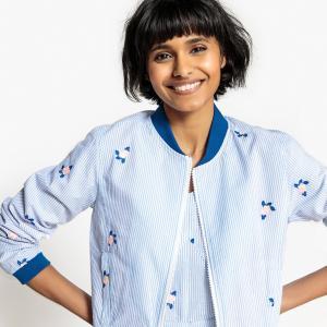 Куртка-бомбер короткая в полоску с вышивкой 100% хлопок LA REDOUTE COLLECTIONS. Цвет: в полоску белый/синий