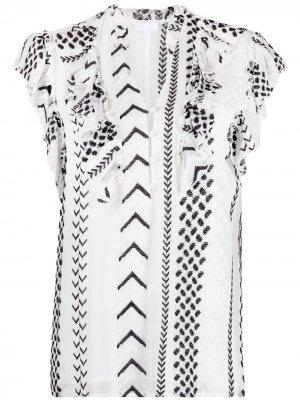 Блузка Kufiya с геометричным принтом Lala Berlin. Цвет: белый