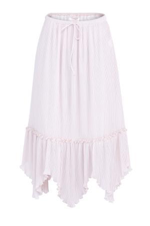 Юбка-миди из плиссированной ткани с асимметричной кромкой SEE BY CHLOE. Цвет: розовый